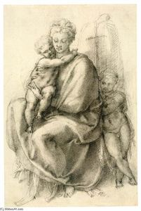 Michelangelo Buonarroti - Madonna and Child with the Infant St John (recto)
