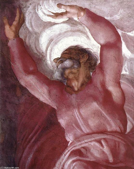 Separation of Light from Darkness (detail), Frescoes by Michelangelo Buonarroti (1475-1564, Italy)