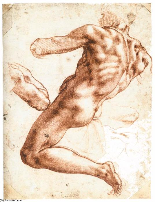 Sitting Male Nude (recto), 1511 by Michelangelo Buonarroti (1475-1564, Italy) | Museum Quality Reproductions | WahooArt.com