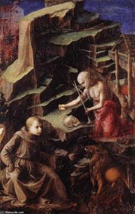 Fra Filippo Lippi - The Penitent St Jerome with a Young Monk