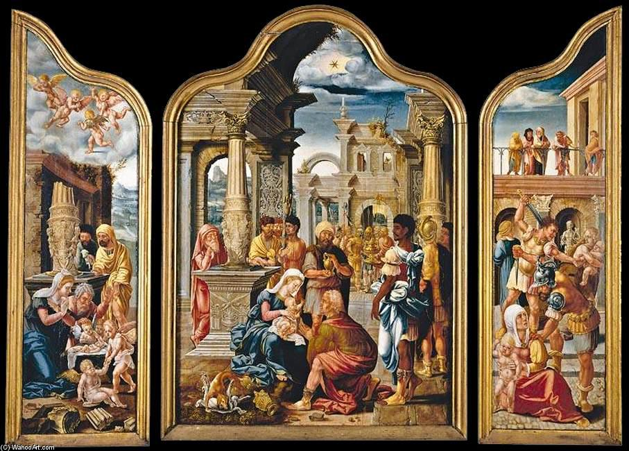 Triptych, Oil On Panel by Lambert Lombard (1505-1566, Belgium)