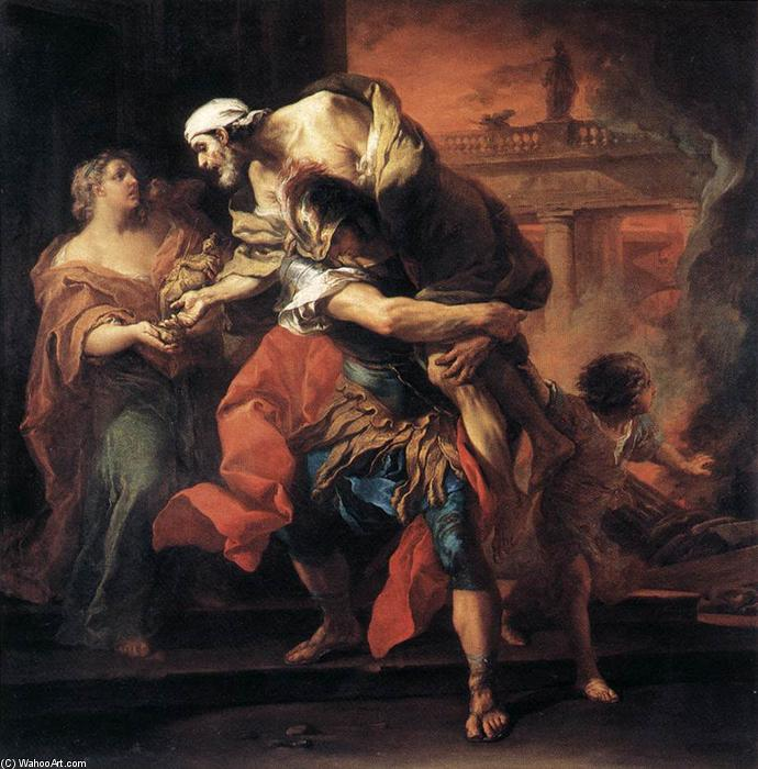Aeneas Carrying Anchises, Oil On Canvas by Charles-André Van Loo (Carle Van Loo) (1705-1765, France)