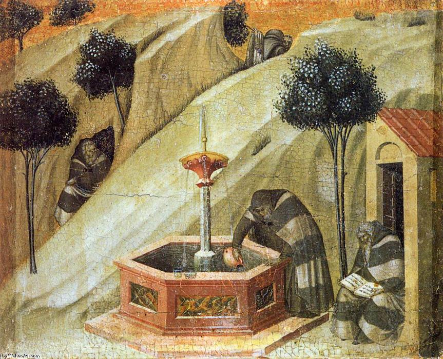 Predella panel: Hermits at the Fountain of Elijah, 1328 by Pietro Lorenzetti (1280-1348, Italy) | Oil Painting | WahooArt.com