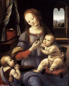 Lorenzo Di Credi - Madonna with the Christ Child and St John the Baptist