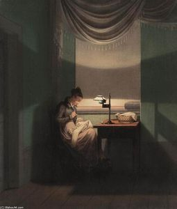 Georg Friedrich Kersting - Young Woman Sewing by the Light of a Lamp