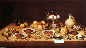Jan Van Kessel - Still-Life on a Table with Fruit and Flowers