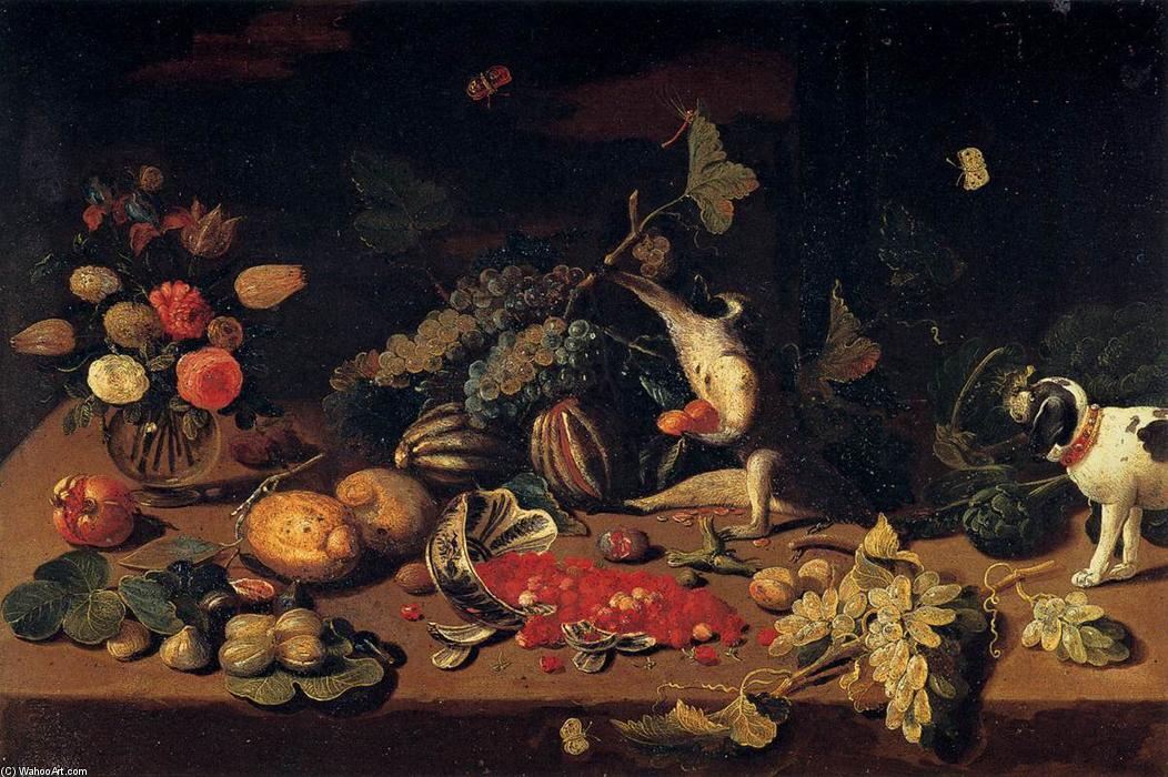Still-Life with a Monkey Stealing Fruit, Oil On Copper by Jan Van Kessel (1641-1680, Belgium)