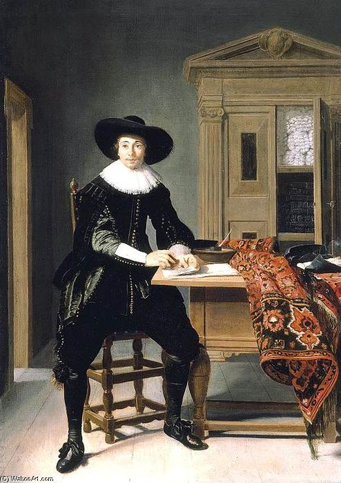 Order Reproductions | Portrait of a Gentleman, 1629 by Thomas De Keyser (1596-1667, Netherlands) | WahooArt.com