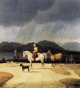 Riders at the Tegernsee, Oil On Panel by Wilhelm Von Kobell  (order Fine Art painting copy Wilhelm Von Kobell)