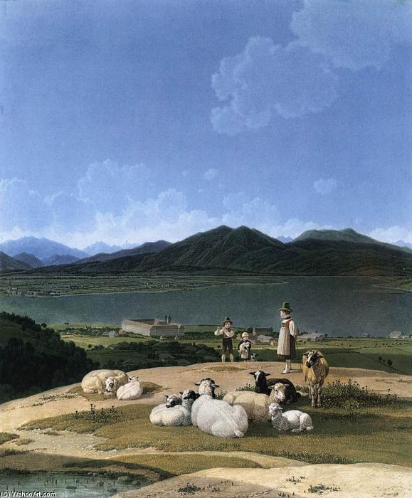 View of Tegernsee, Oil On Canvas by Wilhelm Von Kobell (1766-1853, Germany)