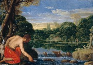 Johann König - Wooded River Landscape with St John the Baptist