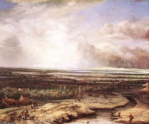 Philips De Koninck - An Extensive Landscape with a Hawking Party