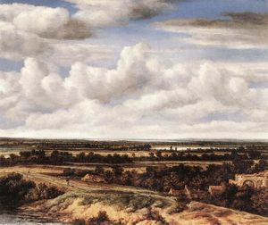 Philips De Koninck - An Extensive Landscape with a Road by a Ruin