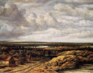 Philips De Koninck - Panorama with Farmhouses along a Road
