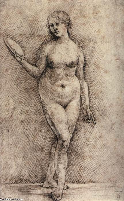 Nude Woman with a Mirror, 1500 by Hans Süss Von Kulmbach (1480-1522, Germany) | Museum Quality Copies Hans Süss Von Kulmbach | WahooArt.com