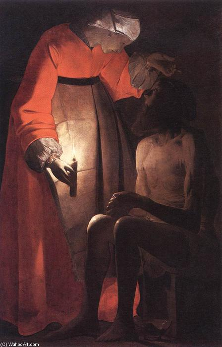 Job Mocked by his Wife, Oil On Canvas by Georges De La Tour (1593-1652, France)