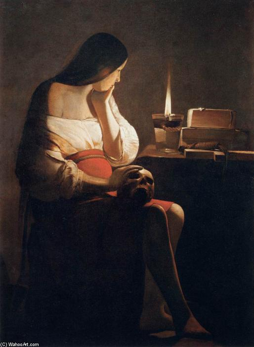 Magdalen of Night Light, Oil On Canvas by Georges De La Tour (1593-1652, France)