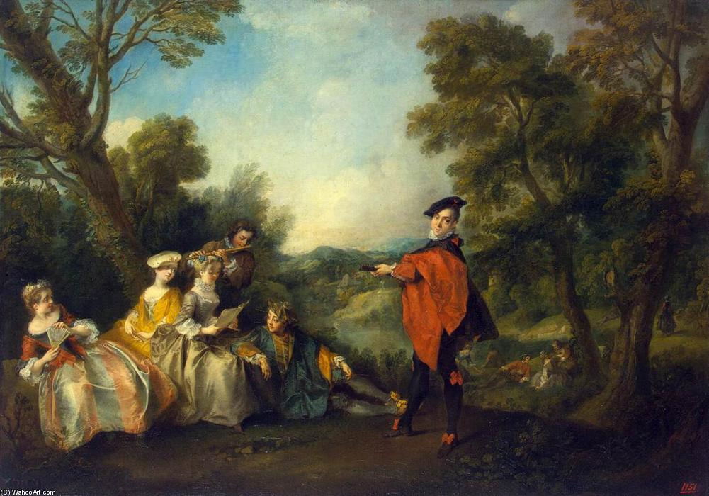 Concert in the Park by Nicolas Lancret (1690-1743, France) | Art Reproduction | WahooArt.com