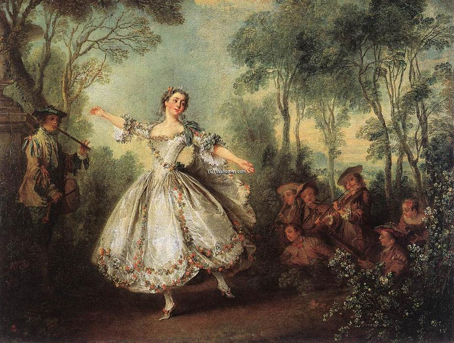 Order Art Reproduction : Mademoiselle de Camargo Dancing, 1730 by Nicolas Lancret (1690-1743, France) | WahooArt.com