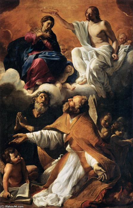 Coronation of the Virgin with St Augustine and St William of Aquitaine, 1616 by Giovanni Lanfranco (1582-1647, Italy) | Paintings Reproductions Giovanni Lanfranco | WahooArt.com