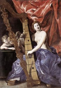 Giovanni Lanfranco - Venus Playing the Harp (Allegory of Music)