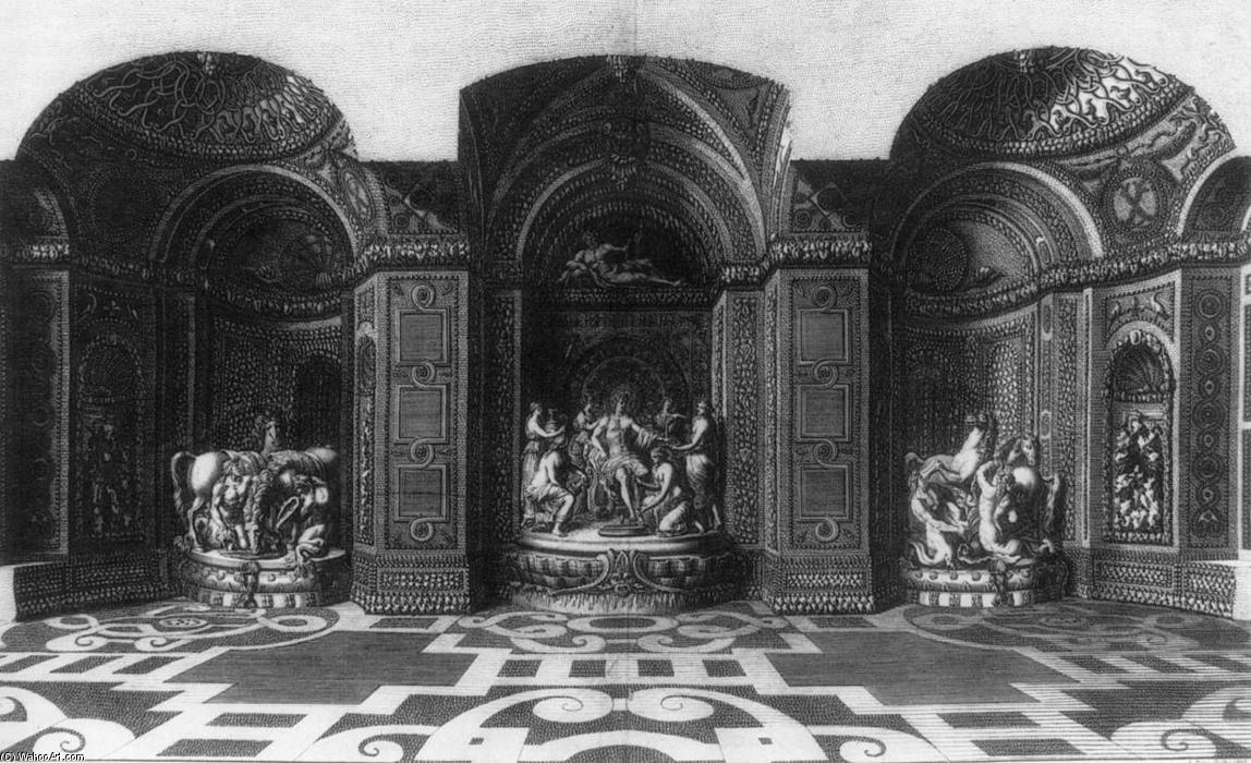 Grotto of Thetis in Versailles, Engraving by Jean Le Pautre (1618-1682, France)
