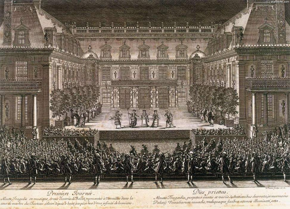 Performance of Alceste in 1674, Engraving by Jean Le Pautre (1618-1682, France)