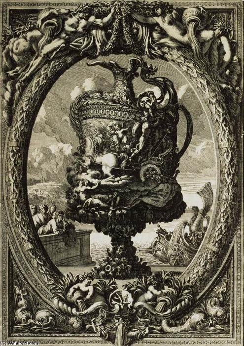 Vase in a Cartouche, 1645 by Jean Le Pautre (1618-1682, France) | Famous Paintings Reproductions | WahooArt.com