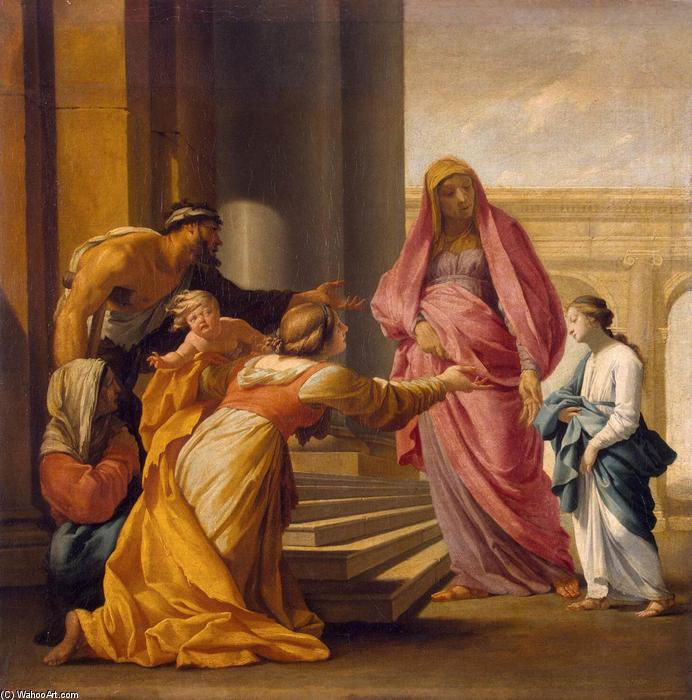 Presentation of the Virgin, Oil On Canvas by Brother Lesueur (Eustache Le Sueur) (1616-1655, France)
