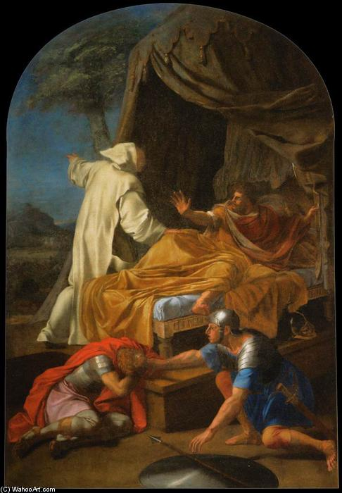 St Bruno Appearing to Comte Roger, Oil On Canvas by Brother Lesueur (Eustache Le Sueur) (1616-1655, France)