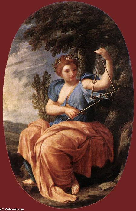The Muse Terpsichore, Oil On Panel by Brother Lesueur (Eustache Le Sueur) (1616-1655, France)