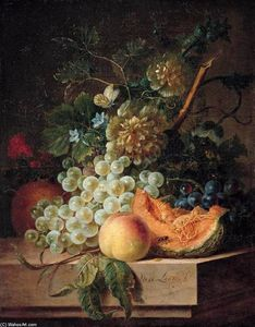 Willem Van Leen - Still-Life with Fruit and Flowers