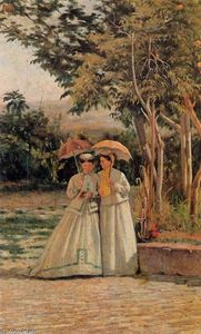 Silvestro Lega - A Walk in the Garden