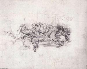 Leonardo Da Vinci - Group of riders in the Battle of Anghiari