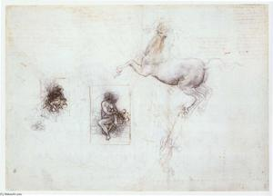 Leonardo Da Vinci - Studies of Leda and a horse