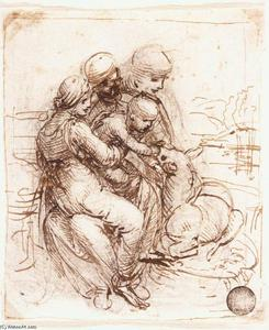 Leonardo Da Vinci - Study of St Anne, Mary, the Christ Child and the young St John