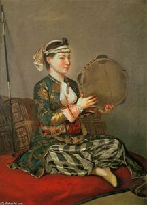 Jean Étienne Liotard - Turkish Woman with a Tambourine