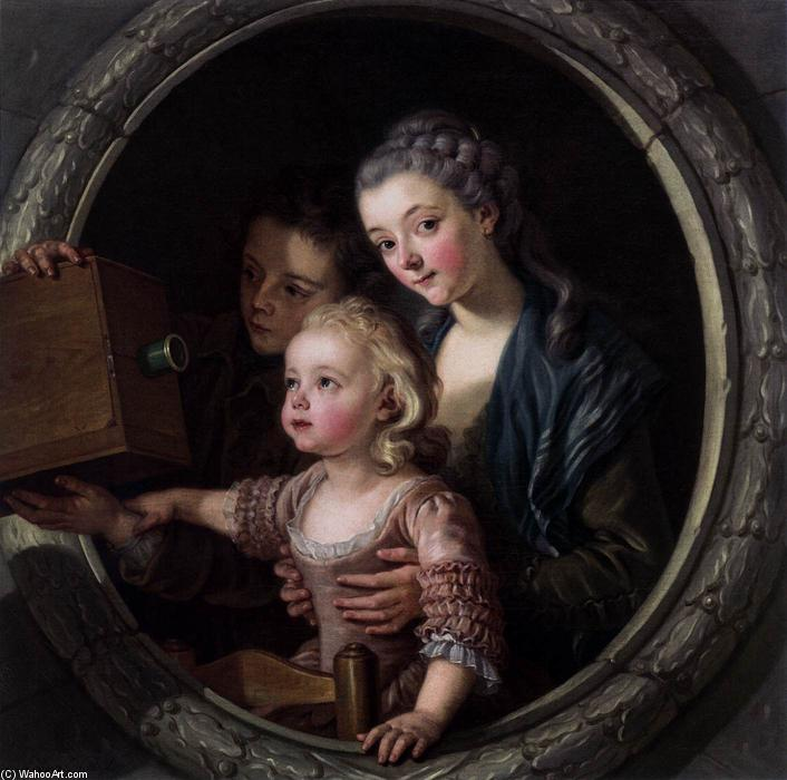The Camera Obscura, 1764 by Charles Amédée Philippe Van Loo (1719-1795) | Oil Painting | WahooArt.com