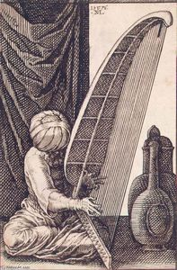 Melchior Lorck - Turk Playing a Harp