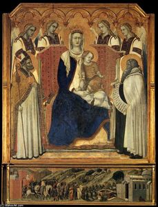 Pietro Lorenzetti - Madonna with Angels between St Nicholas and Prophet Elijah