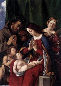 Lorenzo Lotto - Madonna and Child with Sts Francis, John the Baptist, Jerome, and Catherine