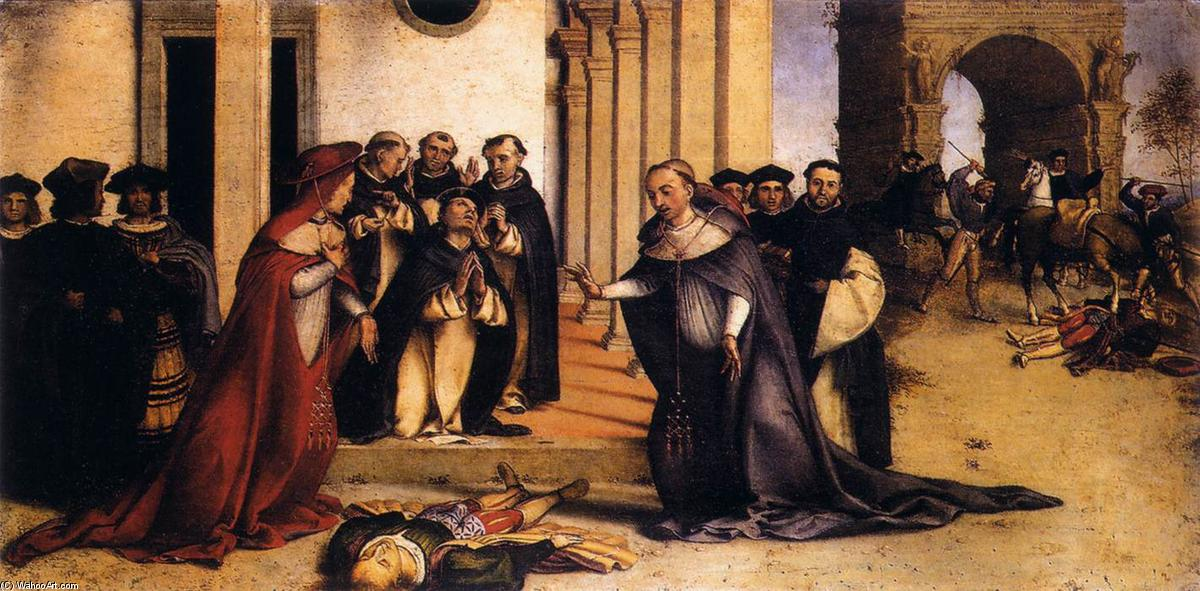 St Dominic Raises Napoleone Orsini, 1513 by Lorenzo Lotto (1480-1556, Italy) | Museum Quality Reproductions | WahooArt.com