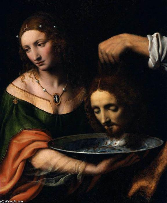 Order Paintings Reproductions | Salome with the Head of St John the Baptist by Bernardino Luini (1480-1532, Italy) | WahooArt.com