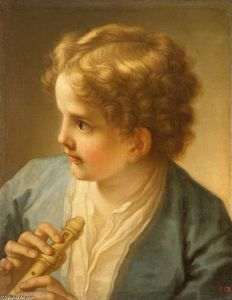 Order Art Reproduction : Boy with a Flute, 1720 by Benedetto Luti (1666-1724, Italy) | WahooArt.com