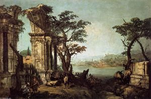 Michele Marieschi - Capriccio with Classical Arch and Goats