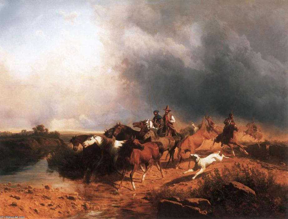 Italian Landscape with Galoping Horses, Oil On Canvas by András Markó