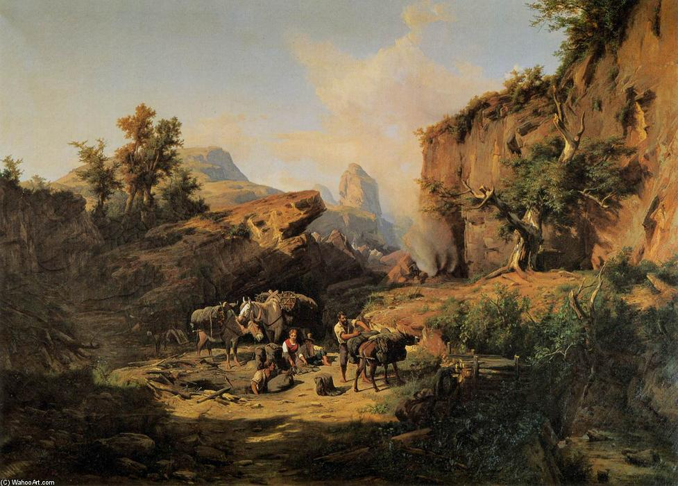 Landscape with Charcoal Burners, 1861 by András Markó | Oil Painting | WahooArt.com