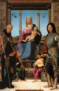 Francesco Marmitta - Virgin and Child Flanked by Sts Benedict and Quentin