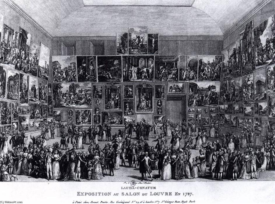 exposition au salon du louvre en 1787 engraving by pietro