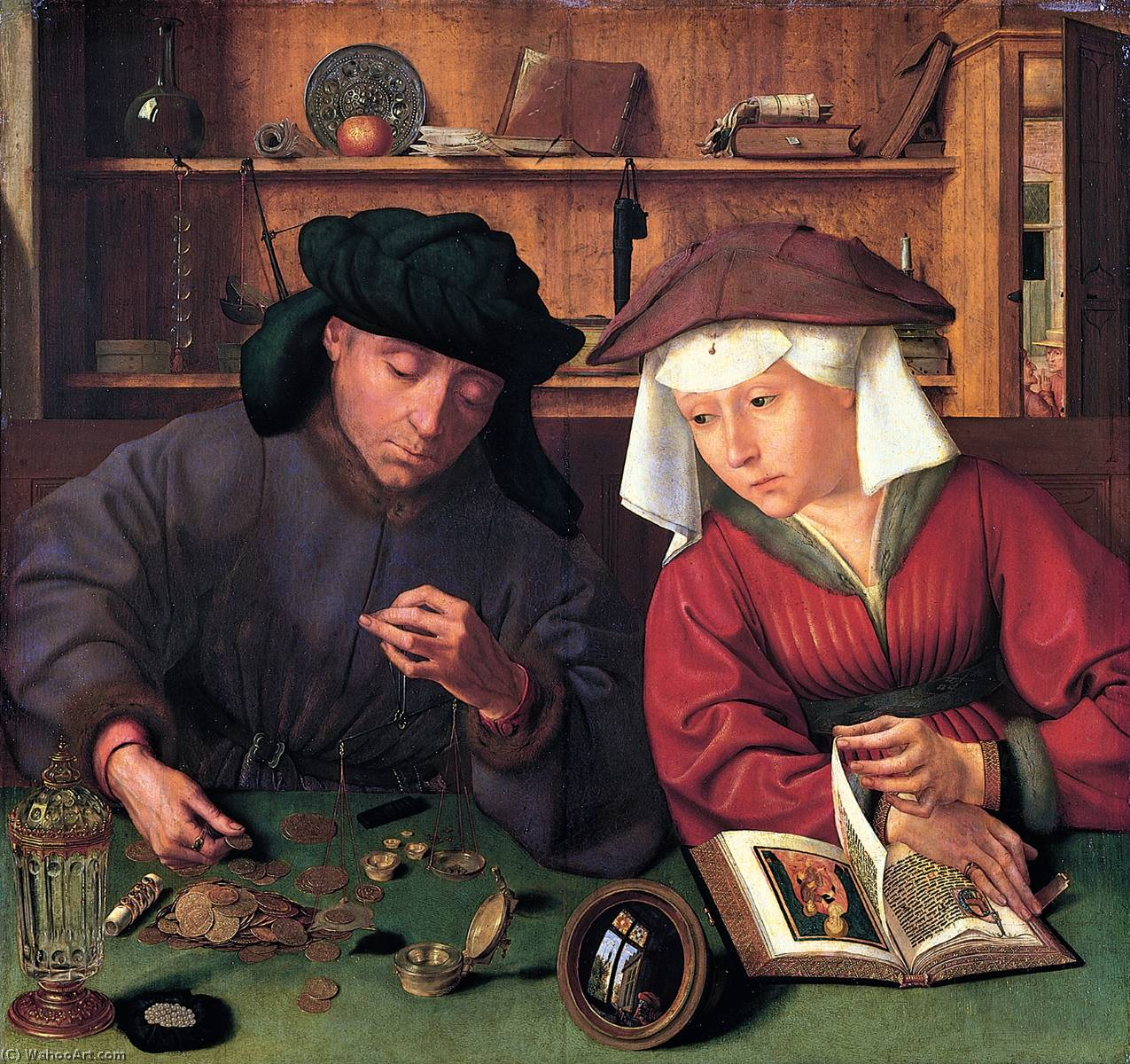The Moneylender and his Wife, Oil On Panel by Quentin Massys (1466-1530, Belgium)